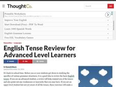 English Tense Review for Advanced Level English Learners Lesson Plan