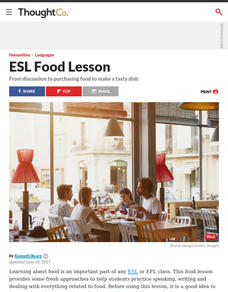 Cooking Your Favorite Meal - Vocabulary and Discussion Lesson for English Students of All Ages Lesson Plan