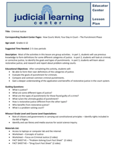 Your Day in Court: Criminal Justice Lesson Plan