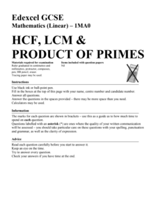 HCF, LCM, and Product of Primes Assessment