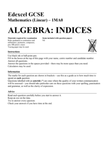 Algebra: Indices Assessment
