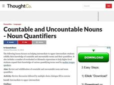 Countable and Uncountable Nouns - Noun Quantifiers Lesson Plan