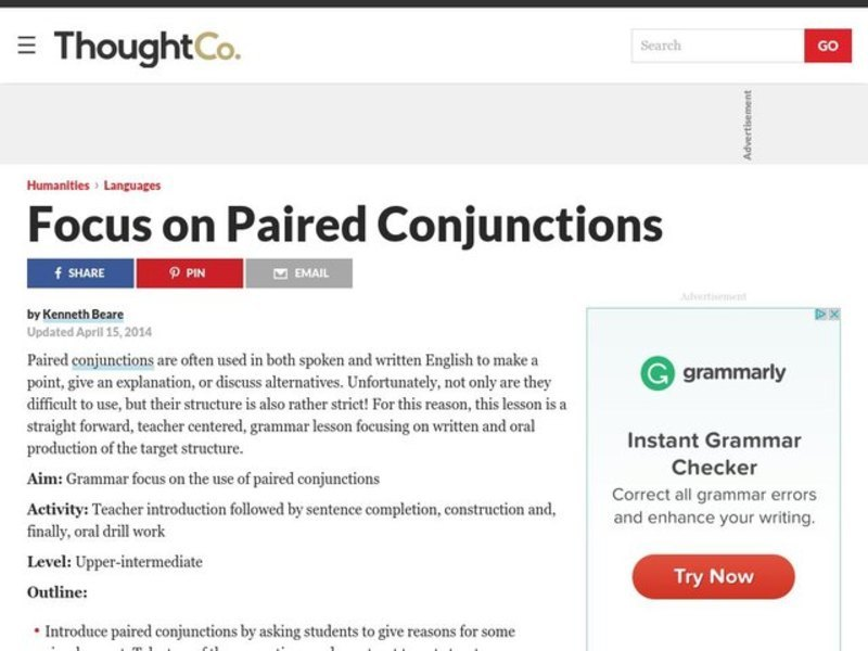 Grammar Lesson Plan Focus on Paired Conjunctions Lesson Plan
