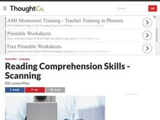 Reading Comprehension - Scanning Lesson Plan