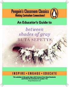 An Educators' Guide to Between Shades of Gray by Ruta Sepetys Lesson Plan