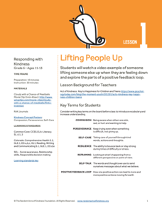 Lifting People Up Lesson Plan