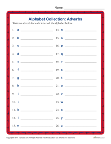 Alphabet Collection: Adverbs Worksheet