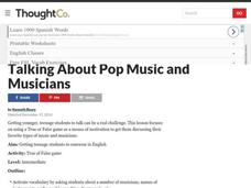 Talking About Pop Music and Musicians Lesson Plan