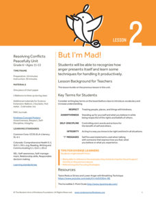 But I'm Mad! Lesson Plan