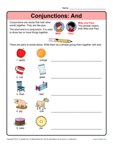 Conjunctions: And Worksheet
