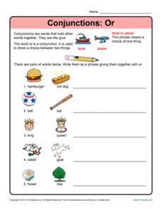 Conjunctions: Or Worksheet
