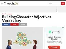 Building Character Adjectives Vocabulary Lesson Plan