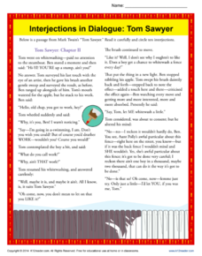 Interjections in Dialogue: Tom Sawyer Worksheet