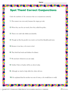 Spot Them! Correct Conjunctions Worksheet
