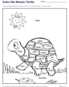 Color the Nouns: Turtle Worksheet