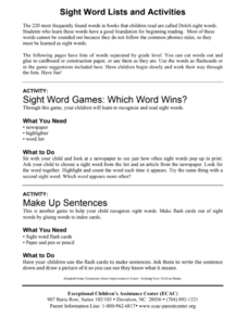 Sight Word Lists and Activities Activities & Project