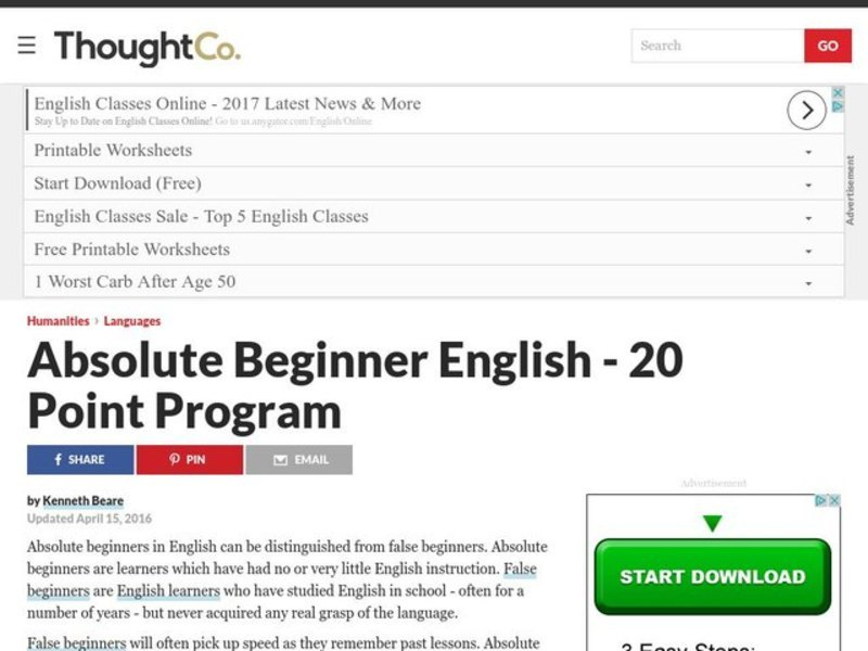 Teacher Lesson Plans - Absolute Beginner English - 20 Point Program Lesson Plan
