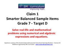 Smarter Balanced Sample Items: 7th Grade Math – Target D Assessment