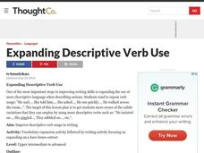 Expanding Descriptive Verb Use Lesson Plan