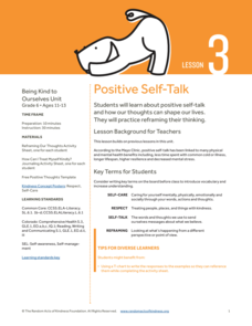 Positive Self-Talk Lesson Plan