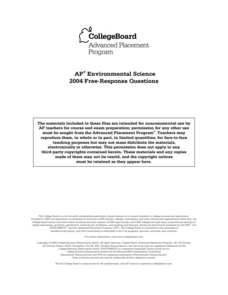 2004 AP® Environmental Science Free-Response Questions Assessment