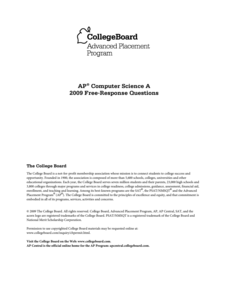 2009 AP® Computer Science A Free-Response Questions Assessment