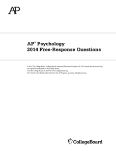2014 AP® Psychology Free-Response Questions AP Test Prep