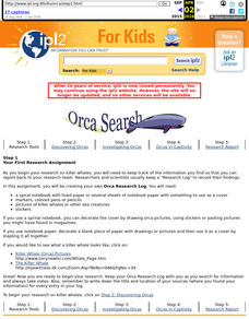 Researching Orca Whales Lesson Plan