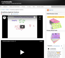Simplifying Algebraic Fractions Video