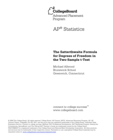 The Satterthwaite Formula for Degrees of Freedom in the Two-Sample t-Test AP Test Prep