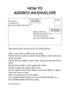 How to Address an Envelope Worksheet