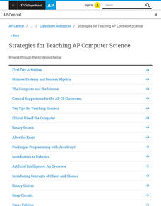 Strategies for Teaching AP Computer Science Lesson Plan