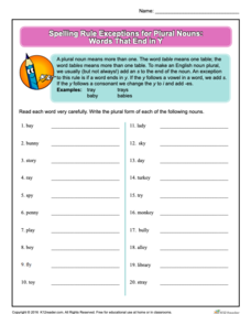 Spelling Rule Exceptions for Plural Nouns: Words That End in Y Worksheet