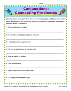 Conjunctions: Connecting Predicates Worksheet
