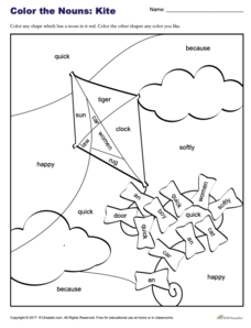 Color the Nouns: Kite Worksheet