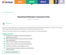 NewsFeed Defenders Extension Pack Lesson Plan
