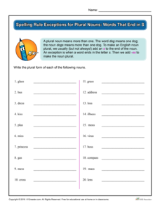 Spelling Rule Exceptions for Plural Nouns: Words That End in S Worksheet