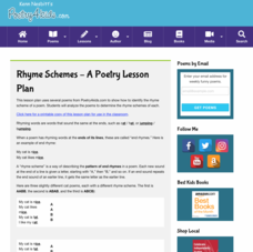 Rhyme Schemes Lesson Plan Lesson Plan