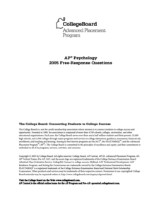 2005 AP® Psychology Free-Response Questions AP Test Prep