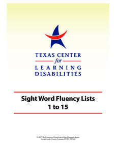 Sight Word Fluency Lists 1 to 15 Worksheet
