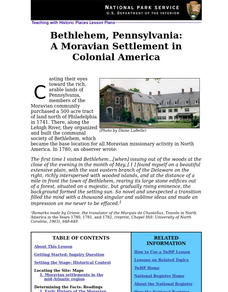Bethlehem, Pennsylvania: A Moravian Settlement in Colonial America (59) Lesson Plan