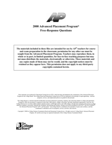 2000 AP® English Language and Composition Free-Response Questions AP Test Prep