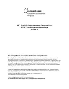2008 AP® English Language and Composition Free-Response Questions Form B AP Test Prep