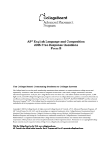 2005 AP® English Language and Composition Free-Response Questions Form B AP Test Prep