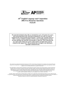 2002 AP® English Language and Composition Free-Response Questions Form B AP Test Prep