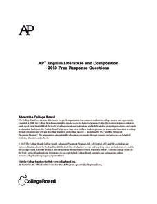 2013 AP® English Literature and Composition Free-Response Questions AP Test Prep