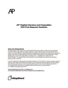 2012 AP® English Literature and Composition Free-Response Questions AP Test Prep