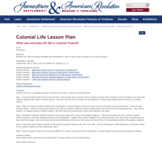 What Was Everyday Life like in Colonial Virginia? Lesson Plan
