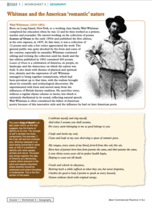 Whitman and the American 'Romantic' Nature Worksheet