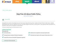 Step Five: All about Public Policy Lesson Plan
